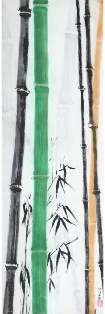 Bambus und Blätter